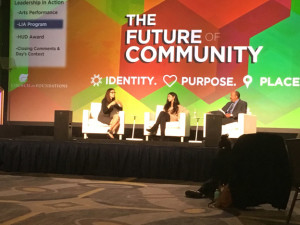 From left to right: Maria Teresa Kumar, Shiza Shahid and Robert Ross (President and CEO, The California Endowment) at the Council on Foundations 2016 Annual Conference.